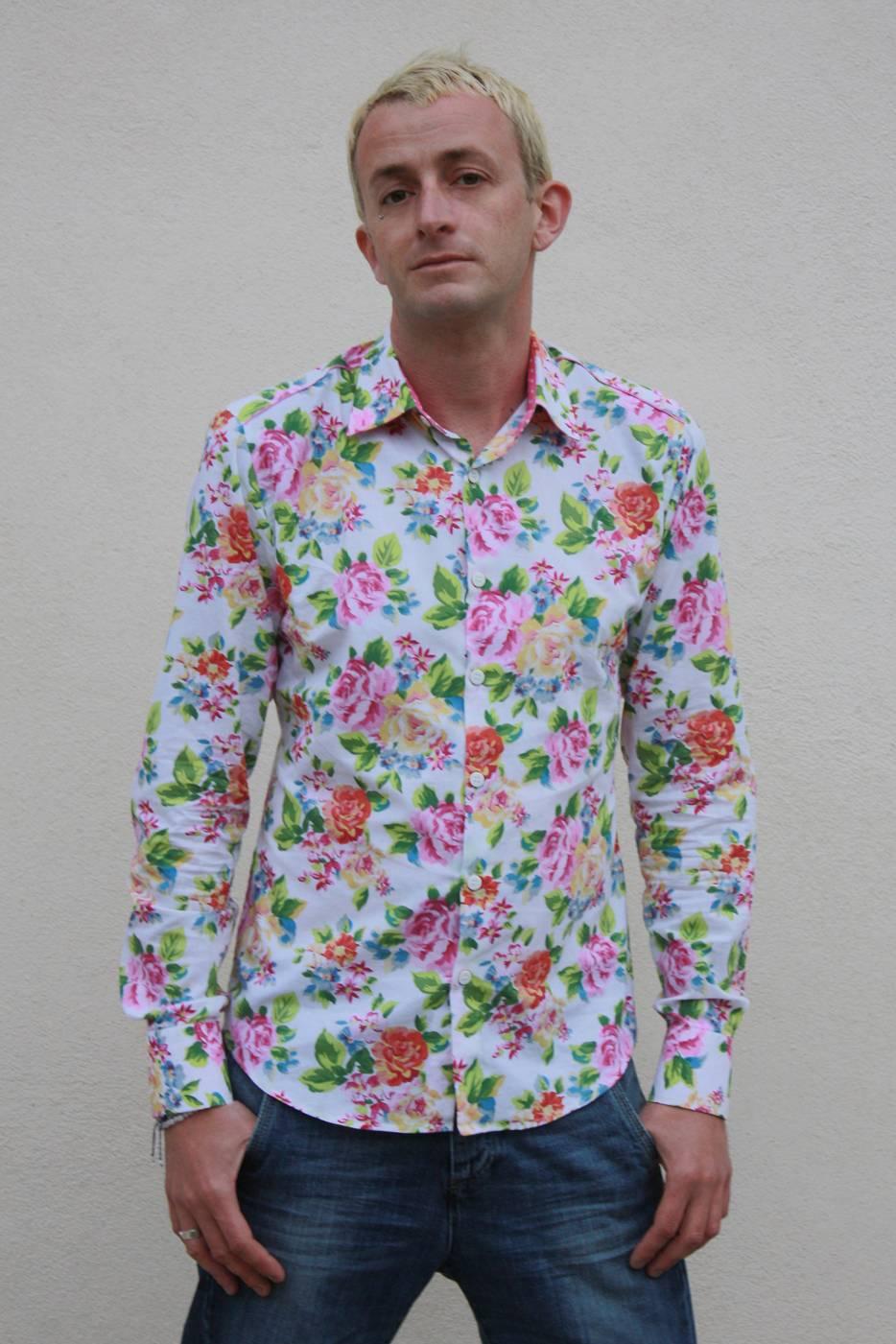 chemise a fleur homme american cotton ba sap. Black Bedroom Furniture Sets. Home Design Ideas