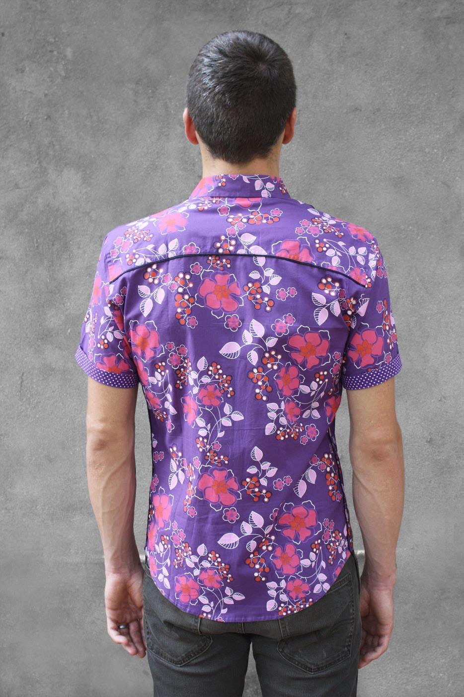 chemise a fleur manche courte violette ba sap. Black Bedroom Furniture Sets. Home Design Ideas