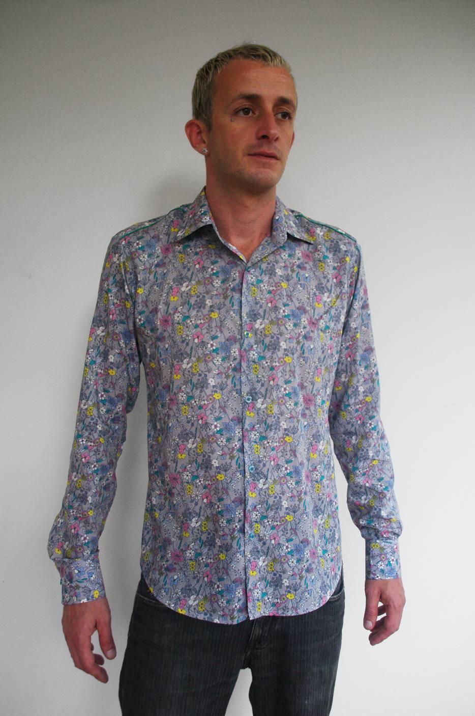 Chemise italienne fleurs des champs ba sap - Chemise homme fashion coupe italienne cintree ...