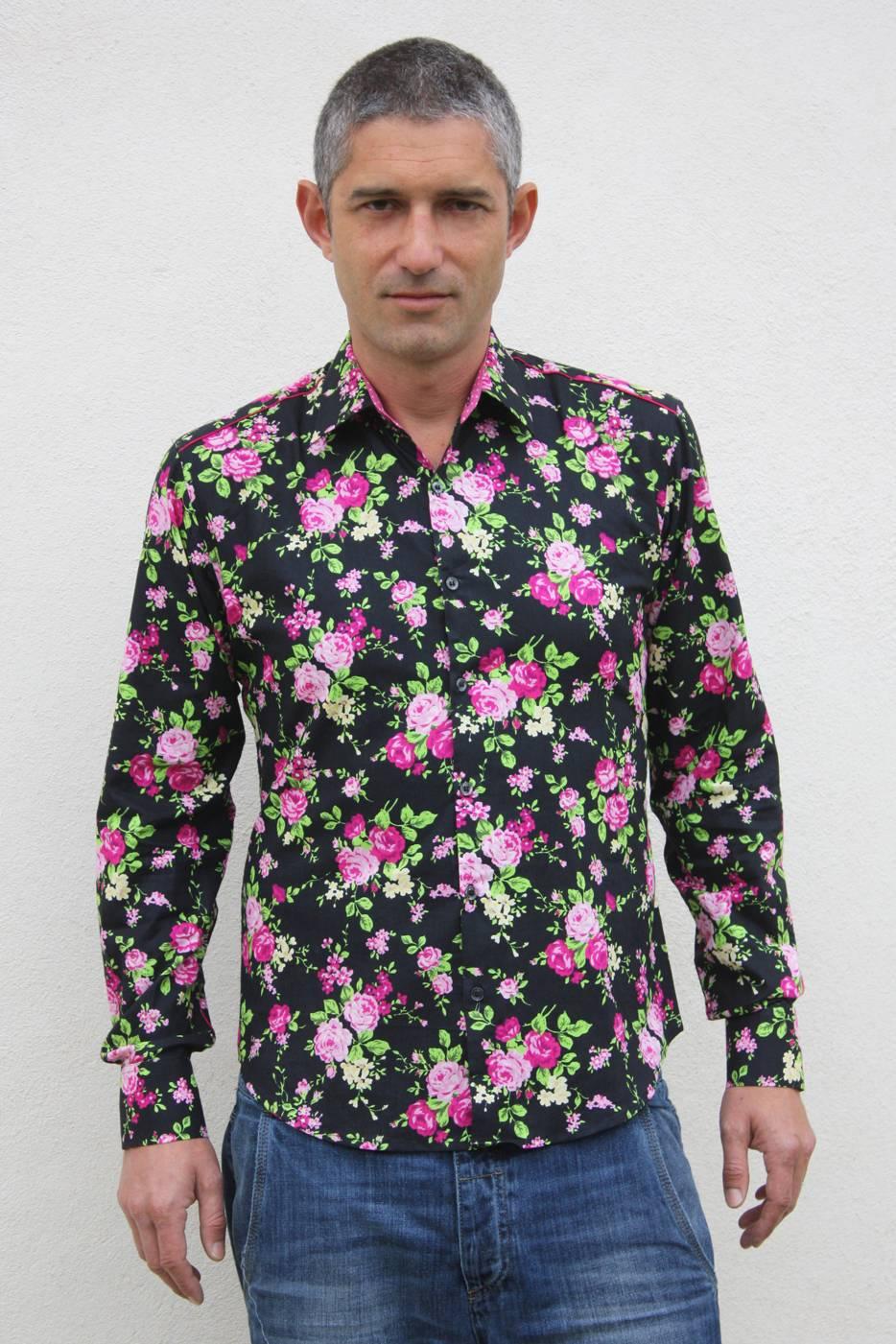 camisa floral masculina gypsy ba sap. Black Bedroom Furniture Sets. Home Design Ideas