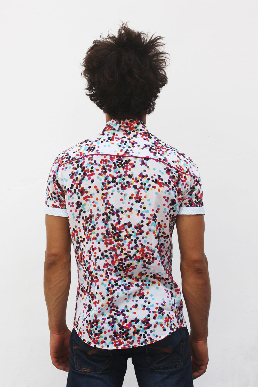 Mens Short Sleeve Polka Dot Shirt Confettis Ba 207 Sap