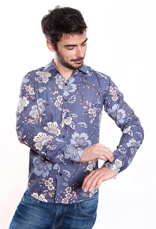 chemise homme fleur bleue ba sap. Black Bedroom Furniture Sets. Home Design Ideas