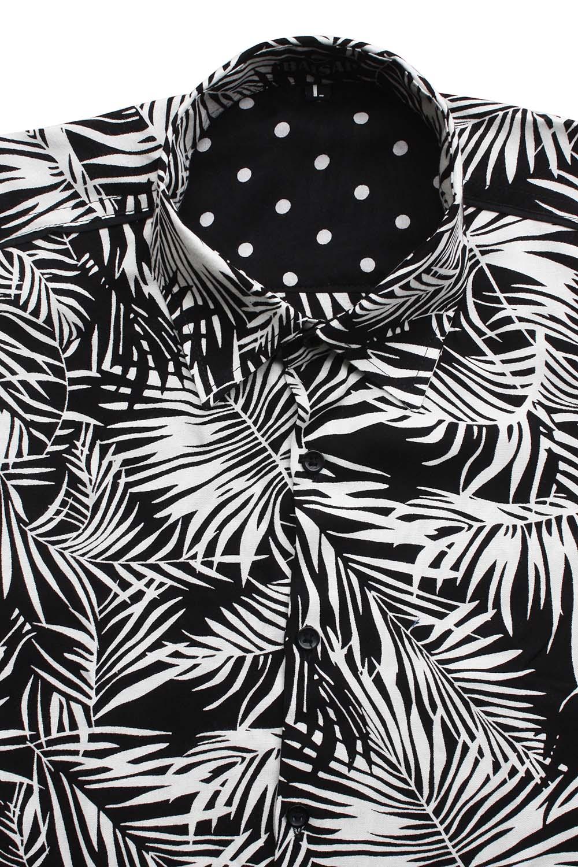 chemise palmier noir et blanc manche courte ba sap. Black Bedroom Furniture Sets. Home Design Ideas