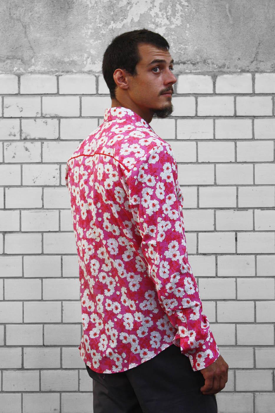chemise rose homme fleur japonaise ba sap. Black Bedroom Furniture Sets. Home Design Ideas