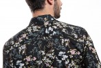 Baïsap - Dark floral shirt - Jasmine - Light cotton shirt for men - #1878