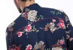 Baïsap - Blue flower shirt - Dahlia - Mens slim fit shirts, viscose made - #1908