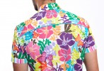 Baïsap - Floral short sleeve button up shirt - Naive - Slim fit shirt for men, light cotton - #1884
