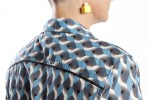 Baïsap - Geometric print blouse - Blue and gray patterned women shirt - #2549