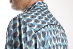 Baïsap - Graphic button up shirts - Teal - Teal and steel cube mens patterned shirts - #1927