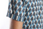Baïsap - Mens printed short sleeve shirts - Teal - Teal and steel cube mens printed shirts - #1932