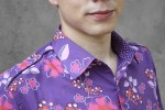 Baïsap - Purple floral shirt, short sleeve - Violet - Purple dress shirt men - #1131