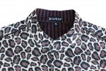 Baïsap - Mens sleeveless shirts - Cheetah - Leopard print shirt - mandarin collar - #1275
