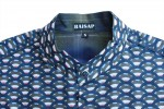 Baïsap - Sleeveless button down shirt mens - Scale - Mens tunic - marine blue geometric pattern - #1278