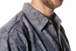 Baïsap - Chambray shirt - Waves - Printed blue shirt for men - #2570