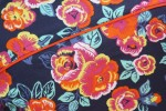 Baïsap - Vintage short sleeve shirts - Peony - Big floral pattern on dark blue background - #1784