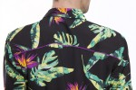 Baïsap - Black hawaiian shirt - Bird-of-paradise - Hawaiian shirts long sleeve for men - #2356