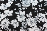 Baïsap - Mens black floral shirt - Gray Flowers - Big flowers print on black viscose - #1837