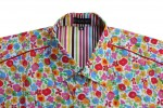 Baïsap - Floral dress shirt, short sleeve - Palette - Slim fit shirt for men - #976