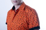Baïsap - Orange short sleeve shirt - Bolt - Patterned dress shirts, slim fit - #1536