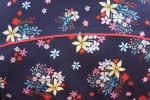 Baïsap - Blue short sleeve shirt - Navy flowers - Floral pattern on navy cotton - #1793
