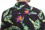 Baïsap - Black hawaiian shirt short sleeve - Bird-of-paradise - Black floral shirt for men - #2427