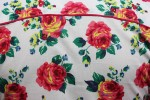 Baïsap - Mens pink short sleeve shirt - Roses - Roses print on white light cotton cambric - #1721