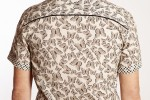Baïsap - Butterfly shirt mens short sleeve - Swarm - Cream printed shirt, light cotton - #2693
