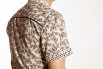 Baïsap - Butterfly shirt mens short sleeve - Swarm - Cream printed shirt, light cotton - #2690