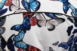 Baïsap - Mens Butterfly shirt, short sleeve - Blue white red print, cotton voile - #1556