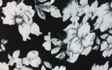 Baïsap - Mens black floral shirt - Gray Flowers - Big flowers print on black viscose - #1835