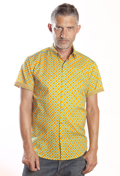 Baïsap - Printed half shirt - Narcissus - Floral short sleeve, slim fit