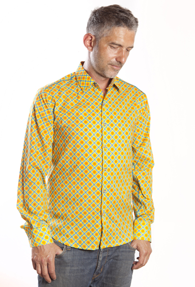 Baïsap - Flower shirt men - Narcissus - Light cotton shirt, slim fit