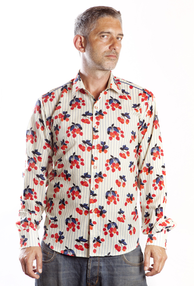 Baïsap - Cherry print shirt - Tricolor shirt for men