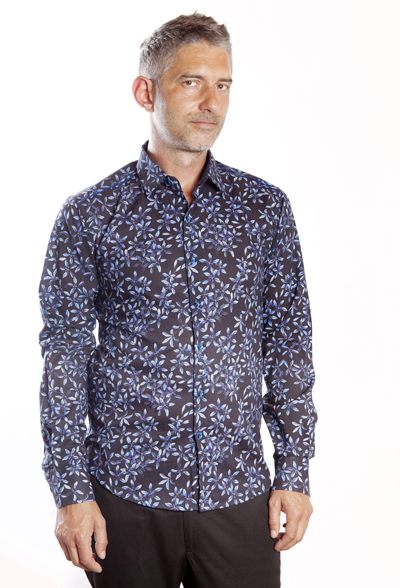 Baïsap - Blue floral dress shirt - Forget-Me-Not - Light cotton shirt, tailored fit