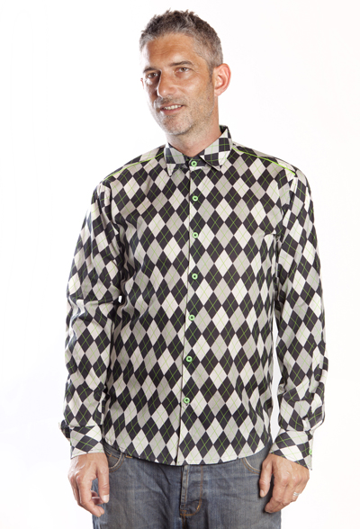 Baïsap - Argyle shirt - Jacquard - Graphic dress shirts, gray checks
