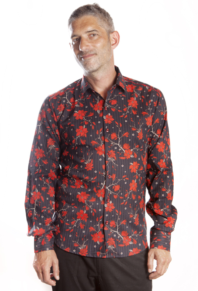 Baïsap - Red floral shirt mens - Red and black shirt