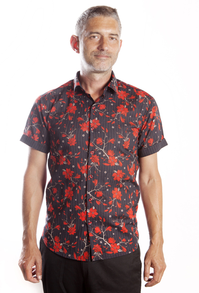 Baïsap - Red floral shirt short sleeve - CRed and black shirt for men