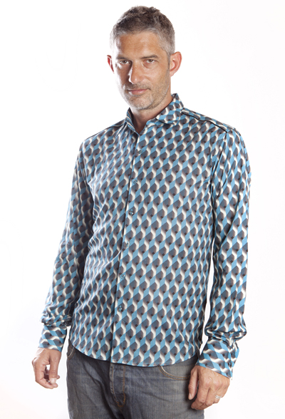 Baïsap - Graphic button up shirts - Teal - Teal and steel cube mens patterned shirts
