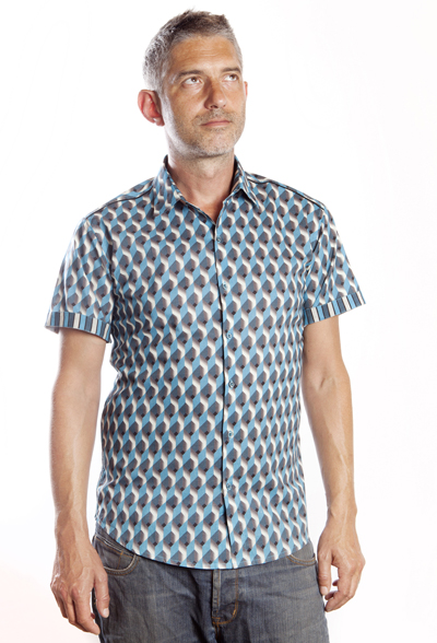 Baïsap - Mens printed short sleeve shirts - Teal - Teal and steel cube mens printed shirts