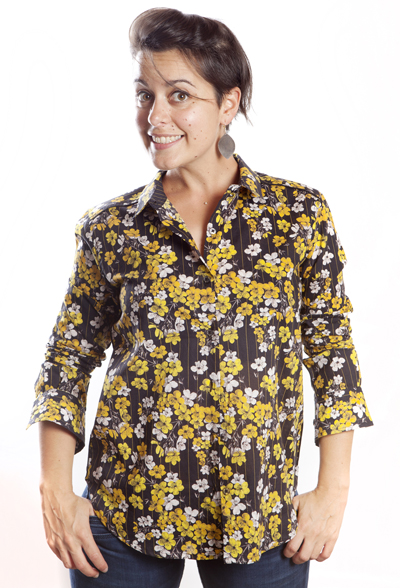 Baïsap - Yellow floral blouse - Black printed blouse for women