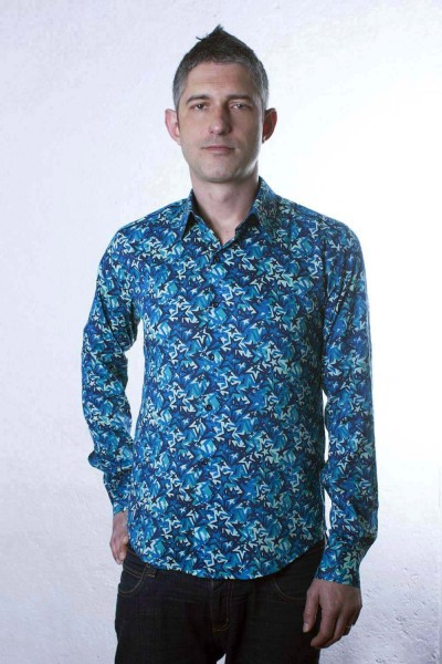 Baïsap - Star shirt - Blue Star - Mens blue dress shirt
