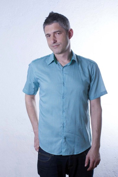 Baïsap - Floral shirt, short sleeve - Turquoise - Mens turquoise dress shirt, floral print