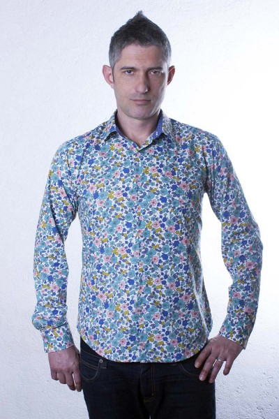 Baïsap - Mens fitted shirt - Olive - Flower & fruit print shirt