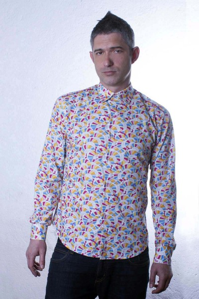 Baïsap - Rainbow dress shirt - Waves - Multicolor shirt for men, slim fit