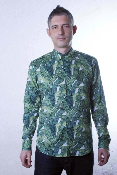 Baïsap - Leaf shirt - Banana - Mens slim fit shirt