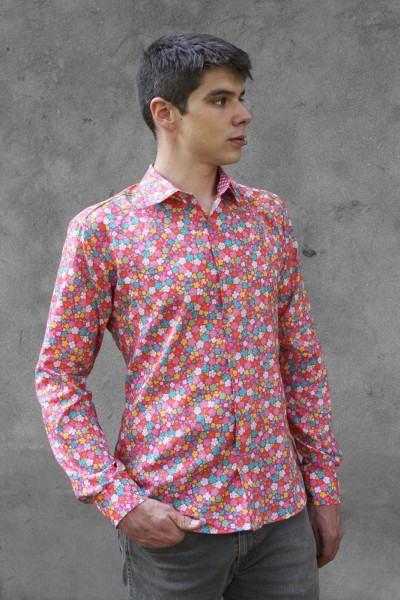Baïsap - Pink floral shirt - Candy - Multicolor floral shirt - pink background