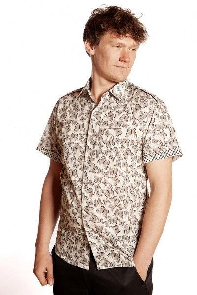 Baïsap - Butterfly shirt mens short sleeve - Swarm - Cream printed shirt, light cotton