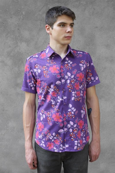 Baïsap - Purple floral shirt, short sleeve - Violet - Purple dress shirt men