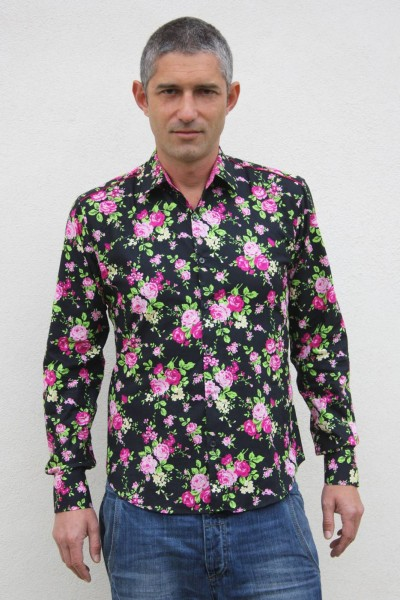 Baïsap - Black floral shirt - Gypsy - Black dress shirt with rose