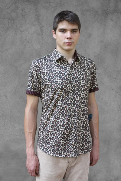 Baïsap - Leopard print shirt mens, short sleeve - Cheetah - Mens leopard print shirt